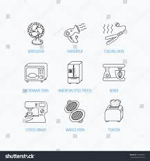 Microwave And Toaster Set Microwave Oven Hair Dryer Blender Icons Stock Vector 336979829