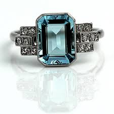 aquamarine engagement ring antique platinum art deco diamond