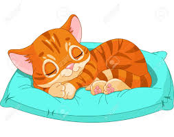 cute kitten sleeping on the blue pillow royalty free cliparts