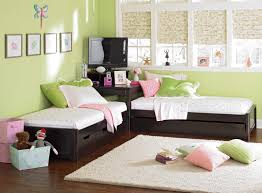 bedroom cute and nice looking twin girls room decorating ideas on bedroom kids design with light green wall interior plus glass windows and brown bedroom ideas
