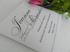 Flat Wedding Programs Traditional Large Wedding Ceremony Program With Monogram Navy