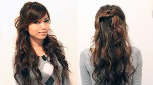 wavy hairstyle half up half down easy evening half up hairstyles
