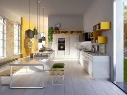 modern kitchen ideas with white yellow theme and elegance white