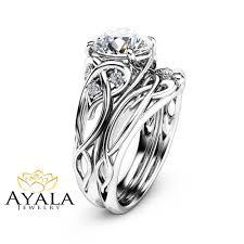 unique engagement ring 14k white gold unique engagement rings 2 carat moissanite ring set