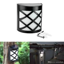 2017 6 led solar powered outdoor path light yard fence gutter