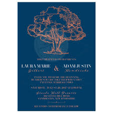navy blue wedding invitations modern tree illustration on navy blue wedding invitation faux