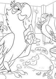 jewel blu eating fruit jungle rio movie coloring pages