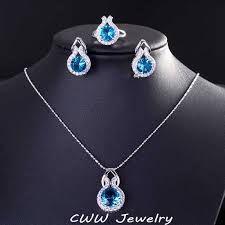 blue sapphire necklace sets images Online shop cwwzircons brand 925 sterling silver jewelry fashion jpg