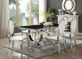 marble base table l antoine collection dining room chrome metal base table set with