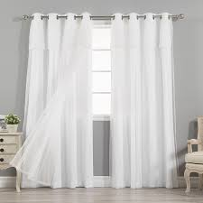 Grommet Curtains Aurora Home Mix U0026 Match Curtains Nordic White Privacy And Sheer