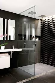 Black And White Laminate Floor Bathroom Glass Shower Partition Steel Showerheads Shower Base