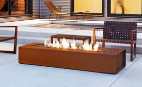 Contemporary Firepit Gas Pit Cor Ten Steel Concrete Contemporary Robata