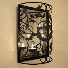 Mirror Sconce Metal Wall Candle Holder With Mirror Candles Decoration