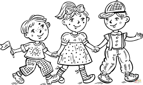 children boys and a celebrating coloring page free