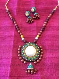 indian jewelry necklace sets images Terracotta necklace set clay indian jewelry multi color sarang jpg