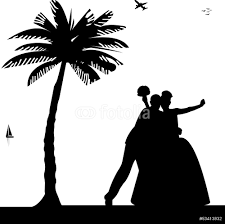 wedding couple on the beach under the palm tree silhouette wall wedding couple on the beach under the palm tree silhouette wall sticker