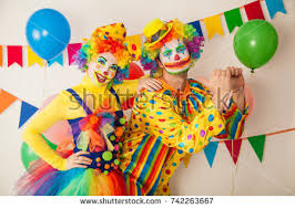 two cheerful clowns birthday children bright stock photo royalty