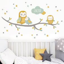 kids wall stickers nursery wall decals koko kids owl family personalised wall sticker