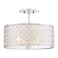 Quoizel Flush Mount Ceiling Light Shop Quoizel Platinum Verity 15 In W Polished Chrome Semi