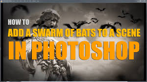 how to add a swarm of halloween bats to video in photoshop youtube