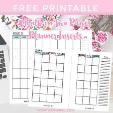 free undated month pages planner inserts planner inserts