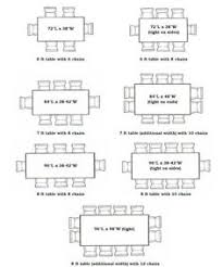 8 person table dimensions visual seating chart shows the number of chairs based on the tables