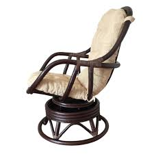 swivel rocking chair erick color dark brown with cushion handmade