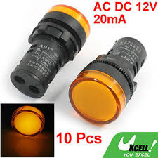 panel mount indicator lights 10 pcs ac dc 12v 20ma orange signal 22mm panel mounting led