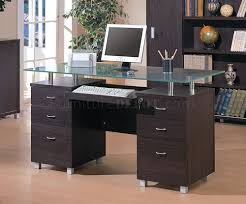 Modern Espresso Desk Finish Contemporary Office Desk W Glass Top