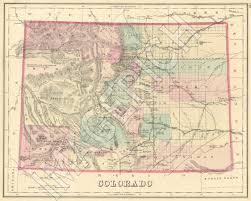 Colorado State Map by Vintage State Map Colorado 1876