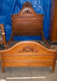 Antique Headboard And Footboard Vintage Solid Wood Double Bed Frame With Hand Carved Acorn Motif