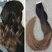 from dark brown to light brown hair tape in hair extensions dark brown with medium blonde color 2 6