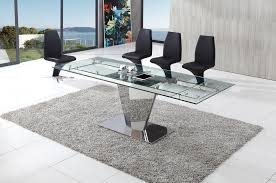 glass and chrome dining table dome glass dining table with amari dining chairs modenza furniture