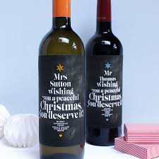 Christmas Wine Personalised Teachers Christmas Wine Labels By Birdyhome