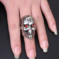 movie rings online images Online shop 2017 movie terminator rings 3d skull ring with red cz jpg