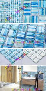 hand painted glass blue tiles backsplash kitchen blue art tile