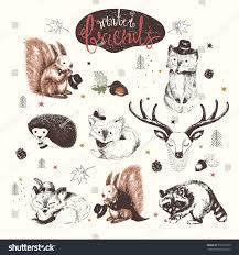 cute animal drawings set vector hand stock vector 753570973