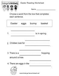 free printable easter reading worksheet for kindergarten workshe