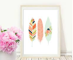 Feather Home Decor Pink Feather Print Printable Art Feather Art Print