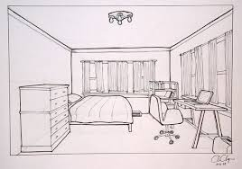 bedroom drawing one point perspective one point perspective
