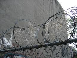 wire lace invasive crochet lace doilies and razor wire colossal