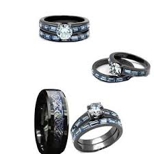 black and blue wedding rings his tungsten and black blue stainless steelcz engagement