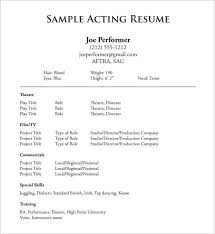 talent resume template acting resume template 8 free word excel