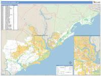 charleston sc zip code map charleston county sc zip code wall map line style by marketmaps