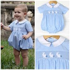 boy smocked bunny silhouette blue stripe smocked auctions