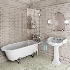 Bathroom Bath Showering Roll Top Bath Screen With Minimal Fixings Bathrooms