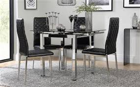 glass and chrome dining table space square chrome black glass extending dining table with 4 leon