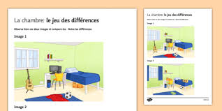 spot chambre bedroom spot the difference worksheet activity sheet