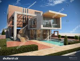 modern villa render 2 stock illustration 394947973 shutterstock