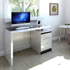 White Glass Computer Desk by White High Gloss Pc Computer Desk Black Glass Top 3 Drawer